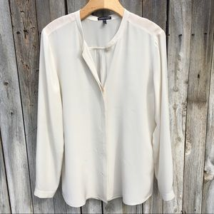 Eileen Fisher 100% Silk Blouse Ivory M